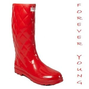Women Tall Quilted Rain Boots, #1411, Red